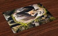 Animal Placemats Set of 4 Nature Wild Fox Forest Print Fabric Table Mats