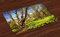 Nature Placemats Set of 4 Spring Forest Flowers Print Fabric Table Mats