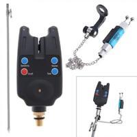 3pcs Electronic Carp Fishing Bite Alarm Set w/ Swinger Indicator Hangers Stand