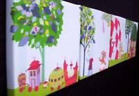 4 X DEEP EDGE CANVAS PICTURES IN THE NIGHT GARDEN NEW