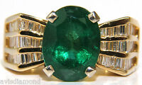 █$7000 NATURAL 6.10CT NATURAL EMERALD DIAMOND RING MOD DECO 3 ROW BAGUETTES  █A+