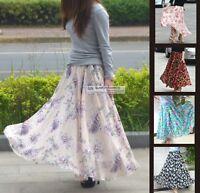 Womens Ladies Full Circle Long Maxi Skirt Floral Printed Chiffon XS ~ 3XL GF0687