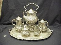 Ornate Antique German Repousse 5pc 800 Silver Tea Set & Sterling Silver Tray