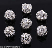50 pcs Silver Plated Rhinestone Crystal Pave Spacer Beads Charms Findings 8mm