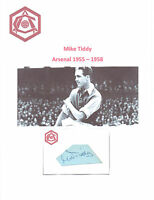 MIKE TIDDY ARSENAL 1955-1958 RARE HAND SIGNED CARD EXCELLENT