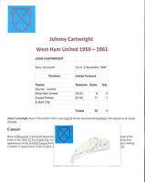 JOHNNY CARTWRIGHT WEST HAM UNITED 1959-1961 RARE ORIG HAND SIGNED CARD GOOD CON