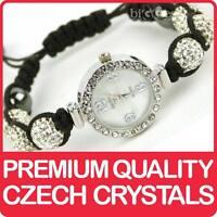 Quality Shamballa WATCH Bracelet Real Czech Crystals Shambala Disco Balls WHITE