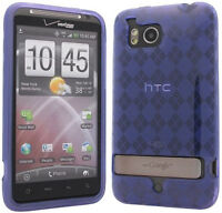 PURPLE PLAID TPU CANDY SKIN CASE COVER FOR VERIZON HTC THUNDERBOLT 4G ADR6400