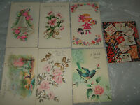 lot 7 vintage greeting cards 50s 60s get well soon girl dog scrapbooking unused