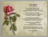 Personalized Red Rose Mother Poem - Mother's Day Gift