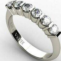 Half Eternity Diamond 0.60 ct VS1/H Round Cut,  Engagement Ring 18k White Gold