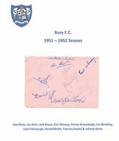 BURY & SWANSEA TOWN 1951-1952 RARE ORIGINAL HAND SIGNED PAGE WITH 12 SIGS