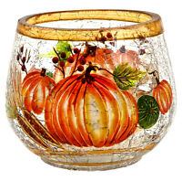 Natures Harvest Crackle Glass Round Votive holder Candle Accessory Home Decor