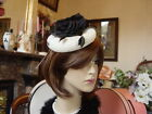 CREAM & GOLD FLECK FASCINATOR WITH BLACK ROSE
