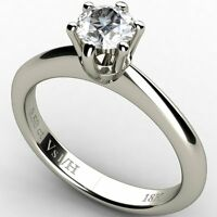 Engagement Diamond Solitaire Ring 18 K White Gold 0.50 ct Vs1 Clarity H Color
