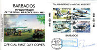 75th Anniv RAF Barbados FDC Signed G Swanwick 54 Sqn Battle of Britain Pilot
