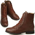 New Womens Comfort Fashion Low Heels Zip Ankle Boots Shoes Brown