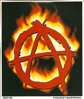 Lot of 2 Stickers - Anarchy FLAMES Symbol - Punk Gothic Attitude Decal