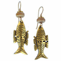 NEW Laurel Burch FISH SPIRIT Antiqued Gold Over Lead Free Pewter Earrings