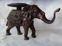 "VINTAGE BRONZE ELEPHANT STATUE INCENSE HOLDER - 6 ½"" tall"