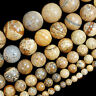 """Natural Yellow Picture Jasper Round Beads 15.5"""" 4mm 6mm 8mm 10mm 12mm 14mm Pick"""
