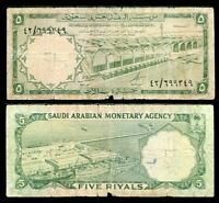 SAUDI ARABIA 5 RIYALS 1966 P 12 a HEAY USED / TEAR CIRCULATED SEE SCAN