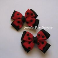 LOT 2 RED & BLACK POLKA DOTS LAYERED PIGTAIL HAIR BOW SET CHRISTMAS So CUTE On