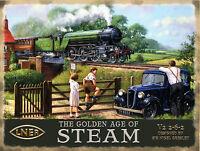 GOLDEN AGE STEAM ENGINE LNER FLYING SCOTSMAN TRAIN MODEL RAILWAY METAL WALL SIGN