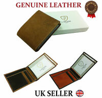 Designer J Wilson Real Genuine Mens High Quality Leather Card Id Wallet Gift Box
