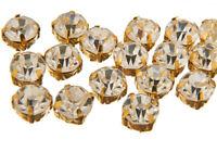 200 x GOLD 4.3mm Sew On Glass Crystal Rhinestone Diamante - Dress Making, 3555