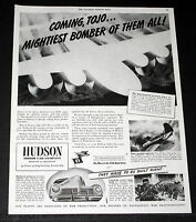 1944 OLD WWII MAGAZINE PRINT AD, HUDSON WAR PRODUCTION,  NEW B-29 SUPER-BOMBER!