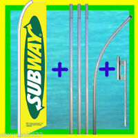 SUBWAY 15' TALL FEATHER FLAG KIT Advertising Sign Swooper Bow Flutter Banner