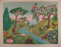 Mady de la Giraudiere Lithographie signée art naif arts et lettres les animaux
