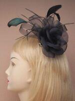 LADIES BLACK HAIR FASCINATOR HEAD CLIP 4270 FLOWER FEATHER RACES WEDDING LADIES