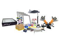 "Screen Printing Press 4 color 2shirt 18"" flash dryer exposure unit equipment kit"
