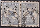 Stamps Australia 6d blue Kangaroo die 2 perf OS pair used, uncommon multiple