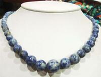 "Beautiful! Natural 6-14mm Lapis Lazuli Round Beads Necklace 18"""