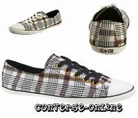 Womens Girl CONVERSE All Star LIGHT OX Black White PLAID Trainers Shoe UK SIZE 3