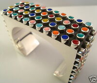 TAXCO MEXICAN STERLING SILVER MULTI INLAY BEADED BEAD CUFF BRACELET MEXICO