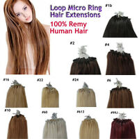 "100 MICRO LOOP REMY HUMAN HAIR EXTENSIONS 20""(u shape stick tip bond micro ring)"