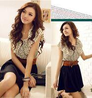 Korean Women Chiffon Summer Fashion Short Sleeve Dots Polka Waist Top Mini Dress