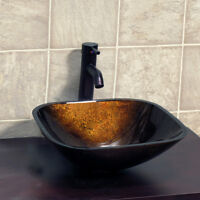 Bathroom Artistic Square Glass Vessel Sink with Oil Rubbed Bronze Faucet S9052