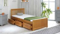 NEW 3ft Single Solid Honey Pine Mission Storage Bed with Drawers Mattress Option