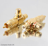 2 PRO PHONO Adaptors Splitter (PAIR) Twin Gold RCA Sockets to RCA Plug Connector