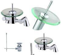 Glass & Chrome Waterfall Bathroom Bath Shower & Basin MixerTaps Choice