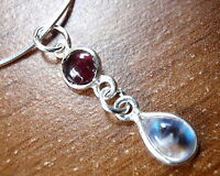 Very Small Garnet Rainbow Moonstone 925 Sterling Silver Necklace