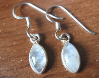 Very Small Moonstone Marquise 925 Sterling Silver Dangle Earrings
