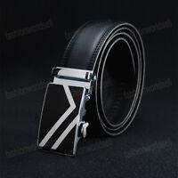 New Business Men's Black Genuine Leather Automatic Metal Buckle Vintage Belts