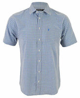 Farah New Men's Short Sleeve Casual Check Shirt Light Blue