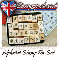28pcs Alphabet Rubber Stamps Flower Butterfly Vintage Style Tin Box Set UK